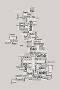 Typography Map Digital Art Framed Prints - Great Britain UK City Text Map Framed Print by Michael Tompsett