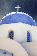 White Church Posters - Greek Chapel Poster by Joana Kruse