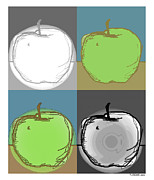 Illustrative Prints - 4 Green Apples Print by Tracey Logan