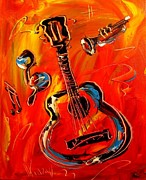 Guitar Art Prints Prints - Guitar Print by Mark Kazav