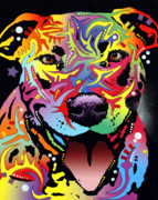 Pit Bull Mixed Media Metal Prints - Happy Bull Metal Print by Dean Russo