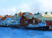 Harbour Mixed Media Prints - Haugesund Harbour Print by Michael Greenaway