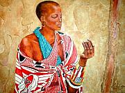 Maasai Painting Originals - He Has Loved Me by G Cuffia