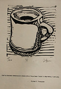 Lino Drawings Posters - Java Poster by William Cauthern