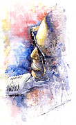 Watercolor  Paintings - Jazz Ray Charles by Yuriy  Shevchuk