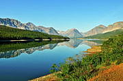 Many Glacier Prints - Lake Sherburne Print by Greg Norrell