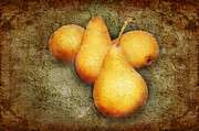Snack Mixed Media Posters - 4 Little Pears Are We Poster by Andee Photography