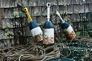 Lobster Traps Framed Prints - Lobster Buoys Framed Print by John Greim