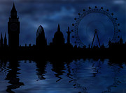 Skylines Digital Art Prints - London skyline Print by Michal Boubin