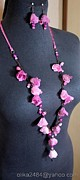 Bloom Jewelry - Long necklace and earrings by Gorean Olga
