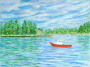 Maine Pastels Framed Prints - Maine Lobster Boat Framed Print by Collette Hurst