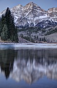 Early Winter Prints - Maroon Bells Print by Tom Cuccio
