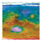 Hellas Posters - Mars Topographical Map, Satellite Image Poster by Detlev Van Ravenswaay