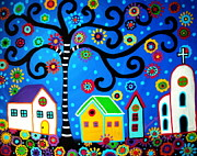 Folk  Paintings - Mexican Town by Pristine Cartera Turkus