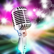 Perform Metal Prints - Microphone On Stage Metal Print by Setsiri Silapasuwanchai