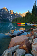 Canoes Photo Framed Prints - Moraine Lake Framed Print by Bernard Chen