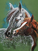 Horse Drawing Pastels Posters - Motherhood Poster by Angel  Tarantella