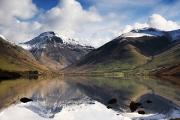 Snow-covered Landscape Prints - Mountains And Lake, Lake District Print by John Short