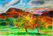 Autumn Landscape Drawings - Mt. Norwottuck and Apple Trees by Lorna Ritz