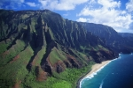 Location Art Photo Prints - Na Pali Coast Aerial Print by Bob Abraham - Printscapes