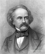 Romanticism Posters - Nathaniel Hawthorne, American Author Poster by Photo Researchers