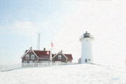 Snow. Ocean Prints - Nobska Light House Print by Michael Petrizzo