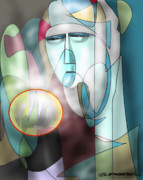 Ball Games Digital Art - Nun Peering Into Crystal Ball by Dean Gleisberg