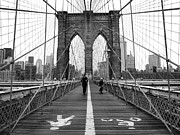 White Prints - NYC Brooklyn Bridge Print by Nina Papiorek