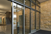 Glass Reflecting Prints - Office Building Entrance Print by Robert Pisano