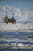 Drilling Rig Framed Prints - Offshore Oil Drilling Platform, Alaska Framed Print by Joe Rychetnik