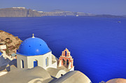 Dome Photo Framed Prints - Oia - Santorini Framed Print by Joana Kruse