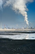 Oil Slick Photo Framed Prints - Oil Industry Pollution Framed Print by David Nunuk