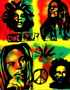 Free Speech Paintings - 4 One Love by Tony B Conscious