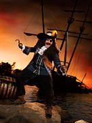 Laughing Posters - Pirate with a Treasure Chest Poster by Oleksiy Maksymenko