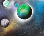Outer Space Painting Posters - 4 Planets Poster by Greg Moores