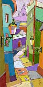 Color Metal Prints - Prague Old Street Metal Print by Yuriy  Shevchuk