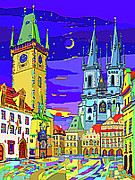 Featured Mixed Media - Prague Old Town Square by Yuriy  Shevchuk