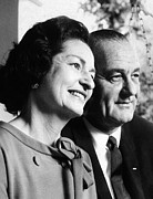 First Lady Acrylic Prints - President Lyndon And Lady Bird Johnson Acrylic Print by Everett