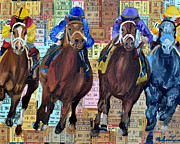 Kentucky Derby Mixed Media Prints - 4 Race Horses in the Lead Print by Michael Lee