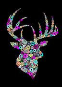 Xmas Digital Art Metal Prints - Reindeer Design By Snowflakes Metal Print by Setsiri Silapasuwanchai