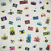 Analog Metal Prints - Retro Camera Pattern Metal Print by Setsiri Silapasuwanchai