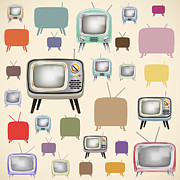 Antique Digital Art Prints - retro TV pattern  Print by Setsiri Silapasuwanchai