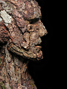 Surrealist Portrait Prints - Revered  A natural portrait bust sculpture by Adam Long Print by Adam Long