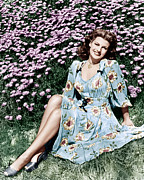 Flowered Dress Framed Prints - Rita Hayworth, 1940s Framed Print by Everett