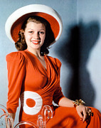 Orange Dress Prints - Rita Hayworth, Ca 1940s Print by Everett