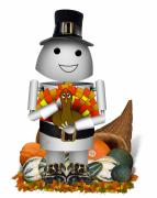 Turkey Mixed Media Prints - Robo-x9 The Pilgrim Print by Gravityx Designs