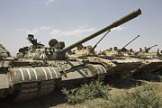 Russian T-54 And T-55 Main Battle Tanks Print by Terry Moore