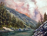 Salmon River Idaho Paintings - Salmon River Blaze by Tom Siebert