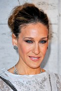 Hair Bun Framed Prints - Sarah Jessica Parker At Arrivals Framed Print by Everett