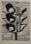 Lino Drawings Framed Prints - Signal Framed Print by William Cauthern
